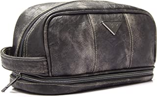 Leather Toiletry Bag for Men - Dopp Kit for Mens Toiletries by LVLY - Travel Bags for Shaving Grooming and Bathroom Accessories