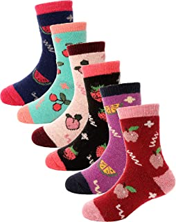 Boys Girls Wool Socks For Child Kid Toddler Thermal Warm Thick Cotton Winter Crew Fun Socks 6 Pairs