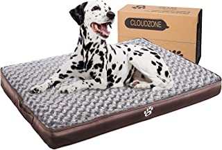 CLOUDZONE Orthopedic Dog Bed with 2-Removable Zipper Covers | Machine Washable Dog Bed Egg-Crate Foam Plush Crate Pad | Pet Bed with Durable PU Leather and Non-Slip Bottom (XXL)