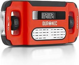 Duronic Apex Radio Am/FM Portátil - Carga Solar, USB o Dinamo - Linterna - Conector de Auriculares y Función de Alarma - P...