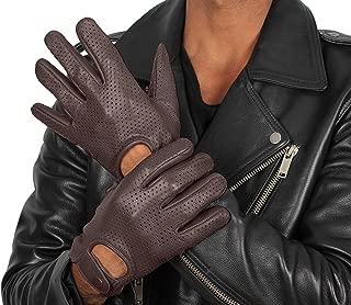 男士褐色皮革骑行者手套 - 成人鹿皮摩托车手套 Full Perforation - Brown Gloves Medium