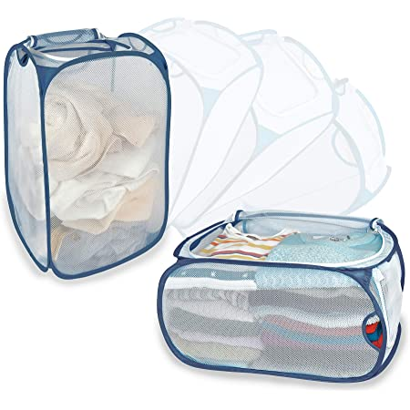 Smart Design Mesh Pop-Up Flip Laundry Hamper & Basket - 2 in 1 - with Handles & Side Zipper - Durable Fabric Collapsible Design - Clothes, Toys - Home (Holds 3 Loads) (15 x 25 Inch) [White with Slate]