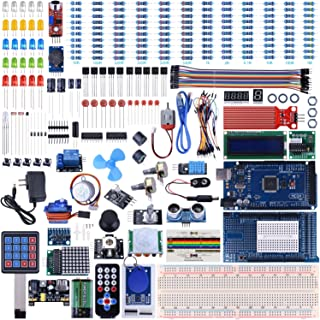 KINCREA UNIROI Arduino Mega2560 UNO Kit with Tutorials, Complete Starter Kit with 5V Relay Module, Resistance Card, DC Motor, Motion Detector and More (242 Items) UA003 (Arduino Mega Kit)