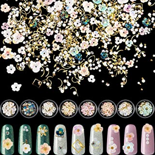 8 Sets Flower Nail Rhinestones Mixed Holographic Nail Art Artificial Pearl Crystal Flower Nail Metal Charms Flowers 3D Nai...