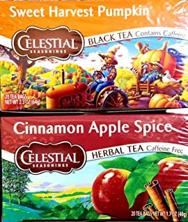 Cinnamon Apple Spice, Sweet Harvest Pumpkin - Tea Bags - Limited Edition Fall Variety Bundle of 2 Boxes - 40 Total Tea Bags