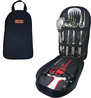 Gr8 4 BBQ | 9 Piece Camp Kitchen Utensils Set with Carrying Bag | Stainless Steel Cooking Tools Lightweight Portable Kit f...