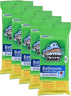 Scrubbing Bubbles Antibacterial Bathroom Flushable Wipes YOehR, 28 Count, 5Pack