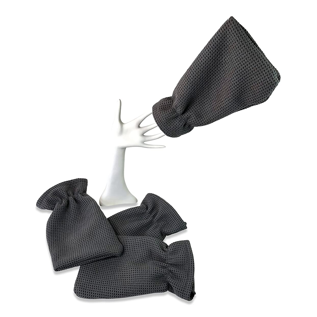 警報暖炉来て4パックwaffletuffタオルHand Mitts?–?Theタオルthat fits like a glove?–?マイクロファイバータオルカバー手?–?Washes without Soap?–?Clean車またはAround家?–?深いクリーニングNonabrasiveワッフル織り 4 pack CKC801G-4