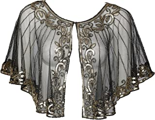 Vintage 1920s Shawl Wraps Sequin Beaded Evening Cape Wedding Bolero Cover Up