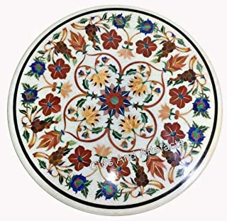 Gifts And Artefacts Table de salle à manger avec incrustation faite à la main Motif floral Table de réunion avec plusieurs...