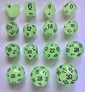 Glow in the Dark - 15 Unusual Evens Dice Set - D30 Dice Chain RPG / Freeblades - D4 Through D30