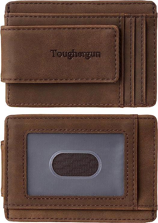 Toughergun Genuine Leather Magnetic Front Pocket Money Clip Wallet
