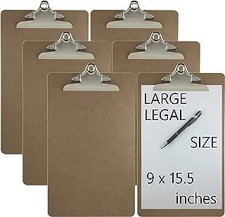 Trade Quest Legal Size Clipboard 9'' x 15.5'' Standard Metal Clip Hardboard (Pack of 6)