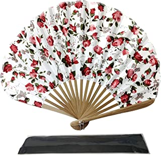 Folding Hand Held Fans, Rangebow Ascot Style Hand Held Fans for Women Girls Japanese Vintage Retro Silk Fabric Fan with a ...