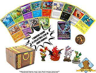 100 Pokemon Card Lot - Featuring 1 GX Ultra Rare - 1 Pokemon Figure Toy - 1 Coin - 4 Rares - Comes in Golden Groundhog Treasure Chest Box!