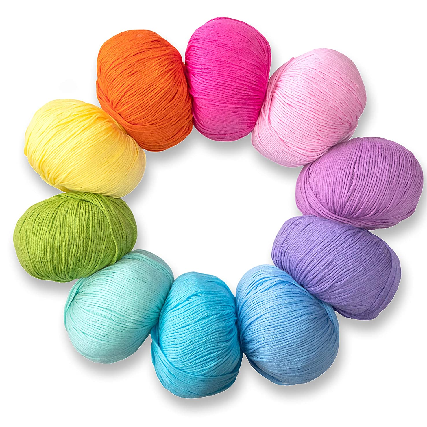 Studio SAM Cotton Yarn for Knitting and Crochet. 100% Soft Cotton in a Set of 10 Vibrant Colors. Bulk Bundle, Great Starter kit for Crafts, dishcloths or Baby Blanket. (Boho Brights Collection)