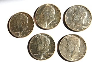 1964 United States of America Kennedy Half Dollar (Silver 90%) 5 Coins Set Two and a half Dollar Excellent Details