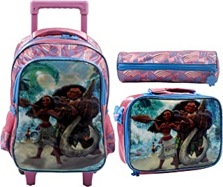 Moana School Trolley With Backpack For Kids 14 Inch Pink Include Lunch Bag And Pencil Pouch