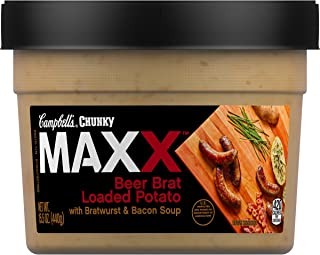Campbell's Chunky Maxx Beer Brat Loaded Potato with Bratwurst and Bacon Soup, 15.5 oz. Tub (Packaging May Vary)