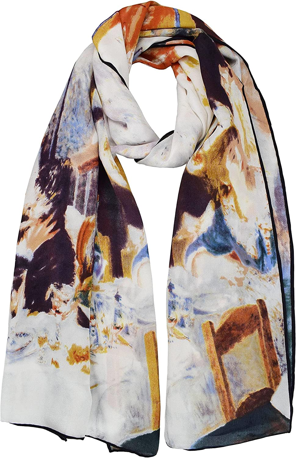 ELEGNA Luxurious 100% Silk Scarf Shawl with Hand Rolled Edge Auguste Reblack's Dance at Le Moulin de la Galette