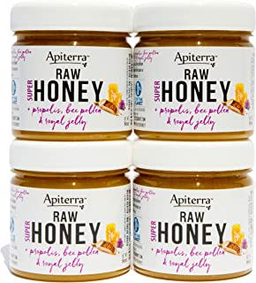 Apiterra - Pure Raw Honey Infused with Propolis, Bee Pollen and Royal Jelly - Natural Immune Support and Energy Boost (tot...