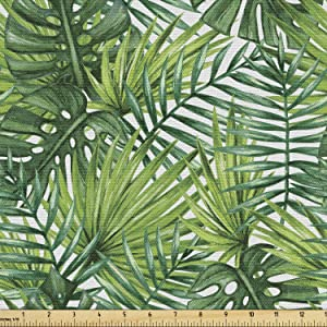 Ambesonne Leaf Fabric by The Yard, Tropical Exotic Banana Forest Palm Tree Leaves Watercolor Design Image, Decorative Fabric for Upholstery and Home Accents, 1 Yard, Green