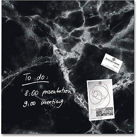 SIGEL GL320 Lavagna magnetica di vetro/bacheca di vetro Artverum, Design Black-Marble, 48 x 48 cm