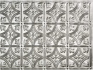 Fasade Easy Installation Traditional 1 Crosshatch Silver Backsplash Panel for Kitchen and Bathrooms (18