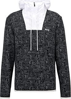 BOSS Mens Surley Logo-print sweatshirt with quarter zip and contrast inserts