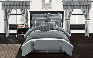 Chic Home Dinah 24 Piece Bed in a Bag Comforter Set, Queen, Grey