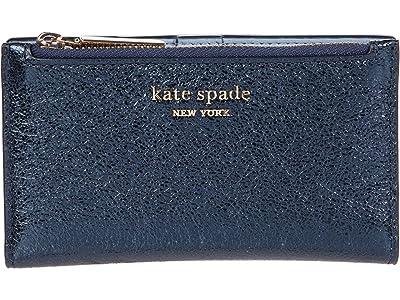 Kate Spade New York Spencer Metallic Small Slim Bifold Wallet (Metallic Night) Handbags