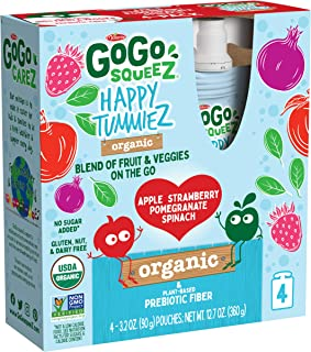 GoGo SqueeZ Happy TummieZ, Organic Apple Strawberry Pomegranate Spinach, 3.2 Ounce (24 Pouches), USDA Organic Certified, Fruit and Veggie Pouches with Prebiotic Fiber, Kosher, Vegan