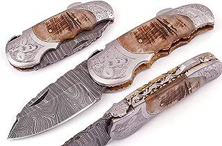 5060-ENG Custom Made Damascus Steel Folding Knife