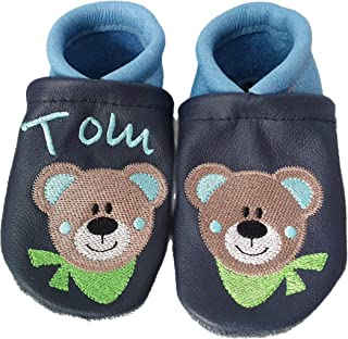Krabbelschuhe//Lederpuschen Koala-Bär Name Namen  Leder bestickt personalisiert