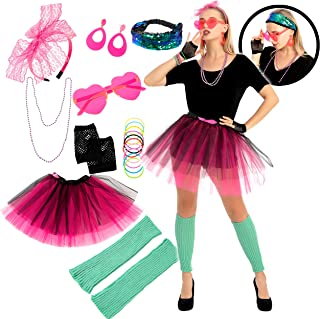 9 Pcs 80s Costume Accessories Set with Tutu Skirt Headband Glasses Necklace and Other Accessories for Halloween Cosplay Party
