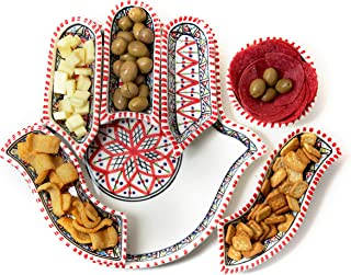 Kamsah 7 Piece Plate Set & Serving Platter, Custom Hand-Painted Ceramic Hamsa Hand of Fatima Serving Dishes for Celebrations, Parties and Events (Small, Red)