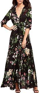 Women's Button Up Split Floral Print Flowy Party Maxi Dress Green