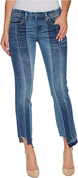 Novelty Denim Skinny with Seaming Detail Contrast of Denim Washes in High and Low