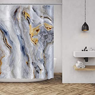 Marble Texture Shower Curtain Nature Stone Color Background Pattern Luxurious Graphic Print Polyester Fabric Bathroom Decor Sets with Hooks 72 x72 Inches, Gold Grey White