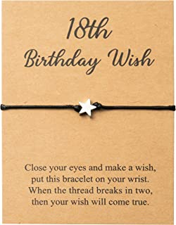 WATINC 18th Birthday Wish Bracelet for Girls, Adjustable Star Shape Bracelet for Valentine's Birthday Gift, Make A Wish Br...