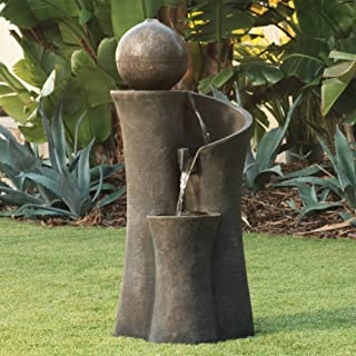 "John Timberland Modern Sphere Zen Outdoor Floor Water Fountain 39 1/2"" with LED Light for Exterior Garden Yard Lawn"