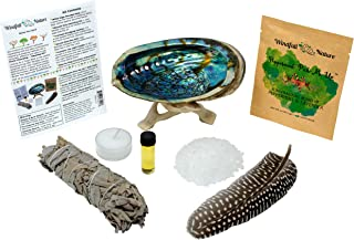 Home Cleansing and Blessing Kit with Abalone Smudging Bowl and Wooden Stand -:- California White Sage Smudge Stick + Smudging Feather + Blessed Anointing Oil + Tea Light Candle + Coarse Grain Sea Salt