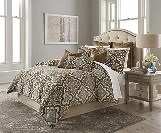 Michael Amini BCS-KS10-PORTR-SADL Porter 10pc King Comforter Set Saddle,