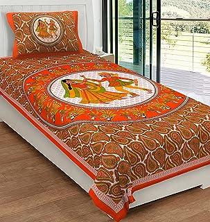 RajasthaniKart® Comfort Rajasthani Jaipuri Traditional Sanganeri Print 144 TC 100% Cotton Single Bedsheet with 1 Pillow Co...