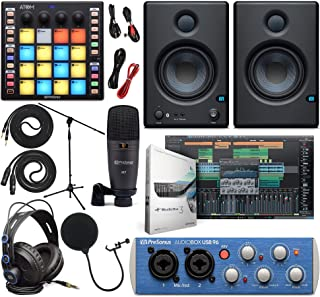 PreSonus AudioBox 96 Audio Interface (May Vary Blue or Black) Full Studio Bundle with Studio One Artist Software Pack, ATOM MIDI/Production Pad Controller, Eris 4.5 BT Pair 2-Way Bluetooth Monitors
