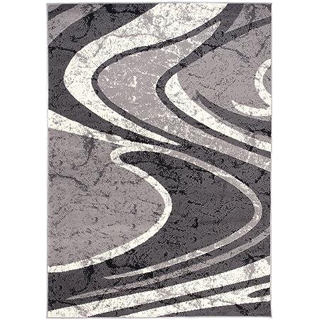 Carpeto Rugs Tapis Salon Gris 150 x 300 cm Moderne Vagues/Monaco Collection