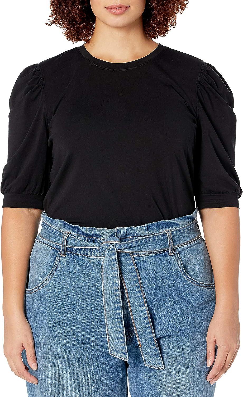 The Drop Women's Mariko Puff-Sleeve Crew-Neck Stretch Jersey T-Shirt