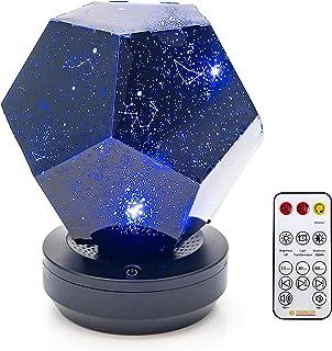 پروژکتور چراغ شبانه Galaxy Star LED چرخان 3 رنگ چراغ قابل تنظیم کابل USB کنترل از راه دور شارژر بلوتوث پخش کننده موسیقی.