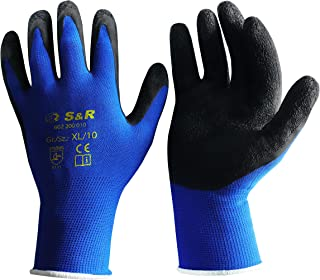 S&R skyddshandskar 12 par av nylonfiber med latexbeläggning, lämpliga för privat och kommersiellt bruk X-L Schwarz / Blau