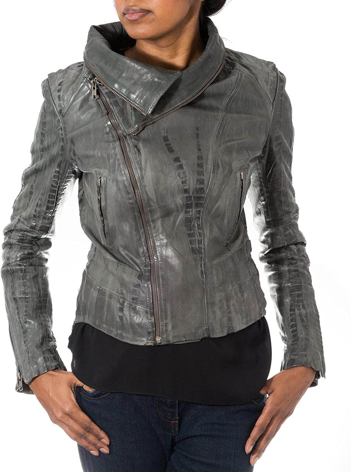 Womens Grey Soft Croc Lamb Skin Leather Biker Jacket with Removable Collar